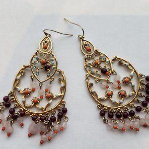 Multi-color Chandelier hoop earrings